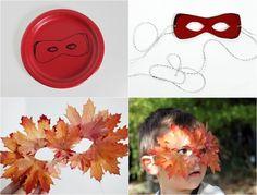 Maske aus Pappteller und Herbstblättern