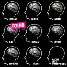 ***PLEASE READ: I do not like this post. It shows all of these people with brains, and then peeple that are racist, sexist, and homophobes don't have brains. But you know what? They forgot white people, straight people, men, and many more that AREN'T racist, sexist, or a homophobe. Do you know how much this upsets me? A lot.