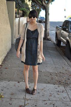 A.P.C. linen dress via Azalea in SF, H&M cardigan, vintage oxfords, fjallraven backpack via Blushing Ambition