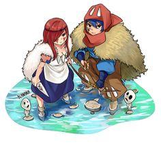 Jellal and Erza cosplaying as Ashitaka and San from Princess Mononoke :)