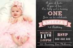 Baby Girl Chalk Board Personalised 1st by DesignedByMeInvites
