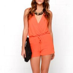 Modlook 29 breezy orange romper (with shorts) Breezy orange ROMPER. Georgette drapes from a sleeveless cut to a surplice bodice above the elastic waist. Attached shorts have relaxed fit and are very comfortable. 100% polyester. Medium but fits loose. Modlook 29 Dresses Mini