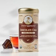 Chocolate Chai  From the Cedarburg Mountain Region of South Africa comes this superior grade, caffeine-free organic Rooibos, blended with the rich, exotic taste of Mediterranean carob and the zest of ginger and cinnamon bark. Chicory and licorice root, round out this delicious thick, warming cup. Wonderful with a splash of milk. $6.99
