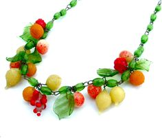 Venetian Glass Fruit Necklace Handmade Colorful Beaded Antique Jewelry... Peach, Orange, Strawberry and Pears