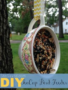 This adorable upcycled DIY Teacup Bird feeder is not only easy to make, but darling hanging in your trees! Make for your next craft day.