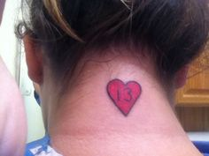 A tattoo I got on Friday the 13th. The number 13 holds deeper meaning for me:) #13 #tattoo #neck #heart
