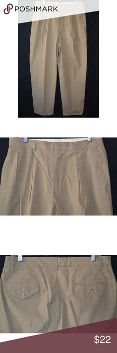 Polo Ralph Lauren Tan Pleat Front Dress Pant 33x32 Pants are in great used condition with normal wear on thighs and leg bottoms.  Tan and Brown Plaid print  Measurements taken laying flat      Waist- 17  Hip- 25  Rise- 12  Inseam-32   Thigh- 12  Leg Opening- 9.5     Item #  11-01 3.5 Polo by Ralph Lauren Pants Dress