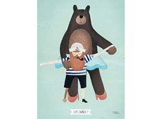 vrolijke poster 'Let's dance' 30x40cm Michelle Carlslund Illustration | kinderen-shop Kleine Zebra