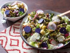fall harvest salad with roasted brassicas