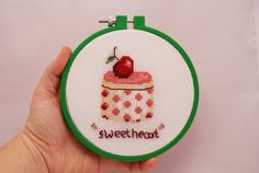 Cross stitch dessert in a hoop. Hand by MeandMamaCreations on Etsy Pastry Chef, Green Colors, A Table, House Warming, Personalized Gifts, Hoop, Kitchen Decor, Gifts For Her, Cross Stitch