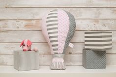 Nursery throw pillow  Hot Air Balloon decoration  girls by Nuppi