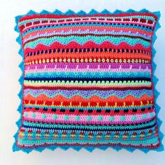 Colourful Crochet Multi Stitch Rows Cushion by CottonFieldsCrochet