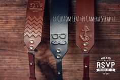 Custom Leather Camera Strap, Handmade personalized gift, hipster style, hand stitched. Choose color, stamp, custom text, name, initials ~ I WOULD LOVE THIS If I had a camera... <3