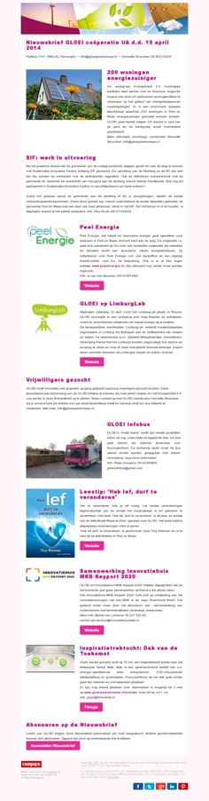 Great newsletter From GLOEI coöperatie UA, http://cm.pn/d74