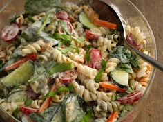 Ranch Spinach Pasta Salad  Grilling tonight? Add a veggie-rich 15-minute pasta salad that gets its start from a Suddenly Salad® mix.