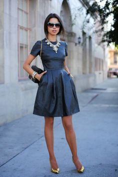 Ladylike black leather dress. Visit http://www.karenannlettiere.com for more styling information and tips!