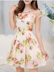 Single Breasted Floral Printed Absorbing Spaghetti Strap Skater-dresses | fashionmia.com