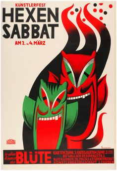 Poster for March 4, 1935 German art festival features stunning art by R. Feldmeyer of caricature devil masks for pre-Lenten costume ball.