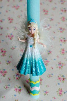 """Πασχαλινή λαμπάδα για κορίτσια """"Elsa-Frozen"""". Elsa, Harajuku, Disney Characters, Fictional Characters, Frozen, Easter, Disney Princess, Art, Style"""