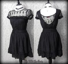 Romantic Goth Black Rose Lace Ruffle Tea Dress 6 8 Vintage Victorian Gothic Doll | THE WILTED ROSE GARDEN