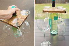 BAIXAR PARA FAZER EM CASA: Suporte taça para garrafa de vinho