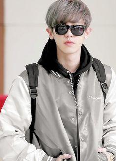 #Chanyeol #Park #EXO #Airport #Fashion #Sunglasses #GrayHair