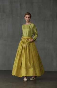 Skirt maxi skirt linen skirt skirt in lemon yellow pocket Full Skirts, Skirts With Pockets, Maxi Skirts, Modest Fashion, Skirt Fashion, Women's Fashion, Princess Line Dress, Wedding Skirt, Party Skirt