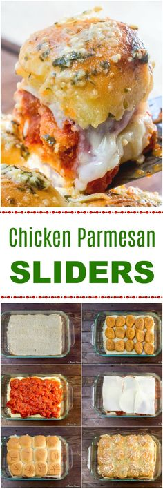 These Chicken Parmesan Sliders turn chicken nuggets into cheesy, garlic-y chicken parmesan mini Hawaiian sandwiches that are perfect appetizers for a snack, potluck or game-day party.  #Sliders #ChickenParm #FootballFood via @flavormosaic