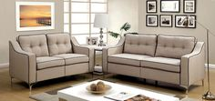 Living Room 2pc Sofa Set Chrome Legs Solid Wood Beige Tufted Sofa Loveseat Couch Contemporary Couch