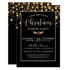 Christmas Party Black Gold Glitter Stars Invitation Christmas