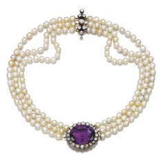 Cultured pearl, amethyst and diamond necklace Designed as three rows of cultured pearls, centring on an oval amethyst framed by rose diamonds, the clasp accented with cushion-shaped diamonds, length approximately maker's mark. Jewelry Clasps, Beaded Jewelry, Beaded Necklace, Pendant Necklace, Pearl Necklaces, Pearl Necklace Designs, Purple Necklace, Cultured Pearls, Antique Jewelry