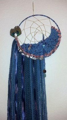 Slate Blue Dream Catcher Weaving by Sk8Glitz on Etsy, $60.00