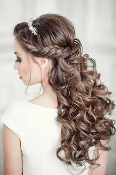 elegant curly half up half down wedding hairstyle ideas
