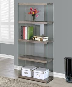 Another great find on #zulily! Dark Taupe Tempered Glass Bookcase by Monarch Specialties #zulilyfinds