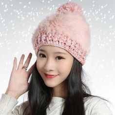 Winter beanie hat hairball decorative knit hats for women