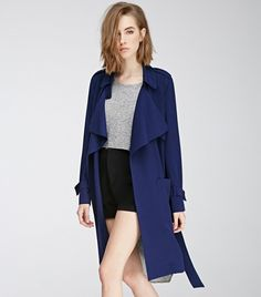 Forever 21 Belted Crepe Trench Coat in Navy
