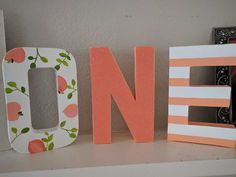 Peach letters. First birthday. One letters. Sweet as a peach.