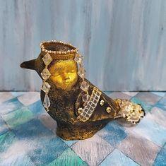 Folk art bird fantasy, free bird figurine toy, mythical creature art doll, miniature bird mixed media, 10 cm or 4 inch high