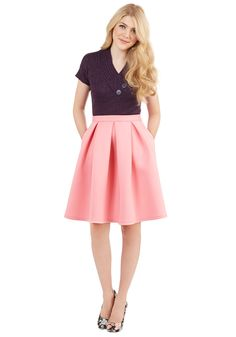 Emphasize the Adorable Skirt. Show everyone in the room that youre not afraid of garnering attention by striding in wearing this bubblegum-pink skirt! #pink #modcloth