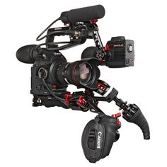 Here's our balanced solution for the Canon C100 MKII.  With just a few elements, we can make this camera go from shoulder to tripod in a flash - plus it's comfy for all day shooting!