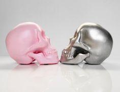 Candle Holder Skull Pink Human Skull Silver Human by hodihomedecor, $48.00