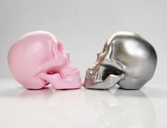Candle Holder Skull Pink Human Skull Silver Human by hodihomedecor, $48.00
