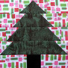 Christmas Tree Quilt Block by Starwood Quilter, made from a free pattern by Janet Wickell.