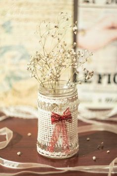 Perfect transformed jar for garden weddings!