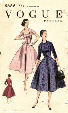 Vogue 8666, 1955. #vintage #1950s #sewing_patterns
