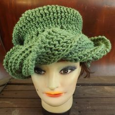 Crochet Hat Womens Hat, SAMANTHA Fashion Turban Hat, Crochet Beanie Hat, Sage Green Hat