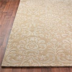 French Damask Hand Tufted Rug: 3 Colors: Shades of Light