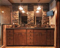 Native Trails copper sinks - rustic bathroom - this would be perfect for a basement man cave bathroom Rustic Bathroom Designs, Rustic Bathroom Vanities, Rustic Bathroom Decor, Rustic Bathrooms, Bathroom Renos, Bathroom Ideas, Rustic Decor, Bathroom Cabinets, Bathroom Remodelling
