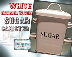 White Sugar Enamelware Kitchen Canister by stuartchristopher, $18.00
