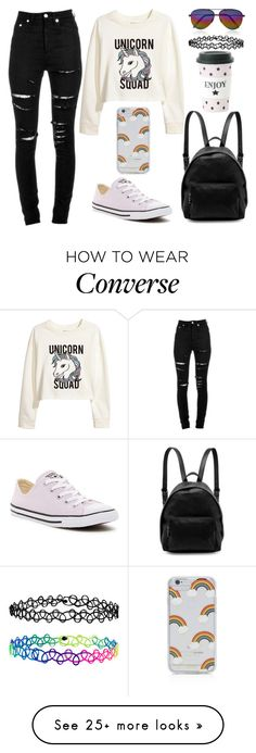 """""""Unicorn Squad"""" by lucy-wolf on Polyvore featuring H&M, Miss Étoile, Yves Saint Laurent, Converse, STELLA McCARTNEY, Sonix, Victoria Beckham and Accessorize"""